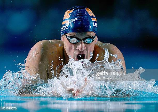 Ryan Lochte swims the breaststroke leg of a preliminary heat of the men's 200m IM during the 2016 Arena Pro Swim Series at Charlotte swim meet at the...