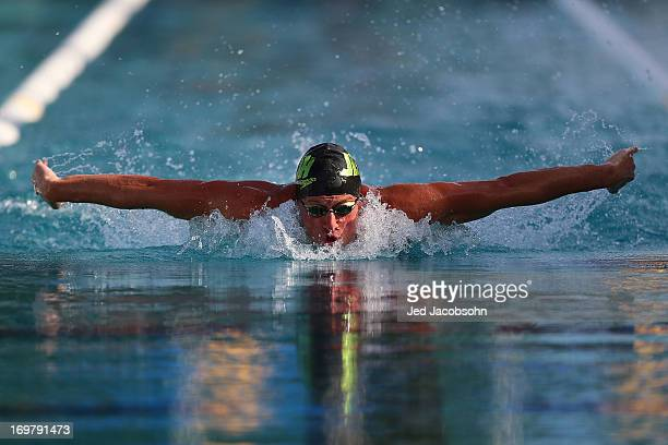 Ryan Lochte swims the butterfly portion of the finals of the 400m IM during Day Three of the Santa Clara International Grand Prix at the George F...