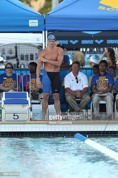 Ryan Lochte waits for the men's 100 meter butterfly to begin during Day Two of the Santa Clara International Grand Prix at the George F Haines...