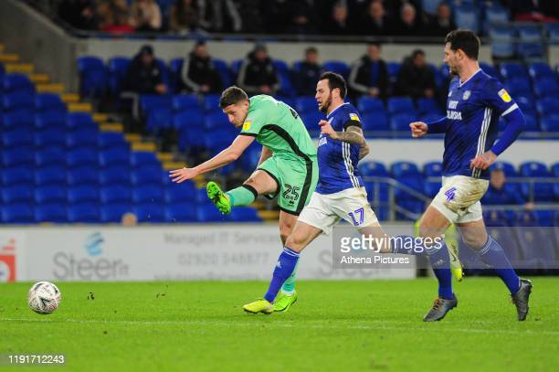 Ryan Loft of Carlisle United has a shot during the FA Cup third round match between Cardiff City and Carlisle United at the Cardiff City Stadium on...