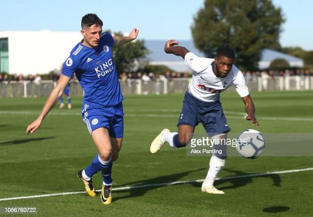 Ryan loft of Leicester City and Japhet Tanganga of Tottenham Hotspur clash during the Premier League 2 match between Tottenham Hotspur and Leicester...