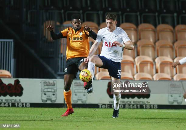 Ryan Loft of Tottenham and Andre Blackman of Barnet during the Checkatrade Trophy match between Barnet and Tottenham Hotspur U23 at The Hive on...