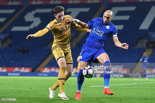 Ryan Loft of Tottenham Hotspur and Yohan Benaloune of Leicester City in action during the Premier League 2 match between Leicester City and Tottenham...