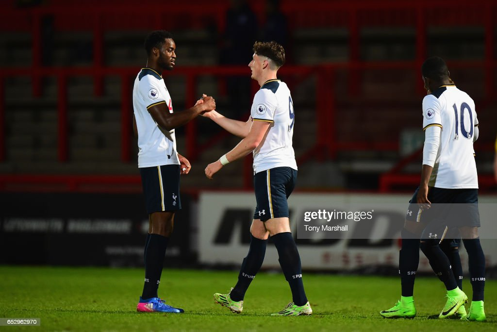 Ryan Loft of Tottenham Hotspur celebrates scoring their first goal during the Premier League 2 match between Tottenham Hotspur and Reading at The Lamex Stadium on March 13, 2017 in Stevenage, England.
