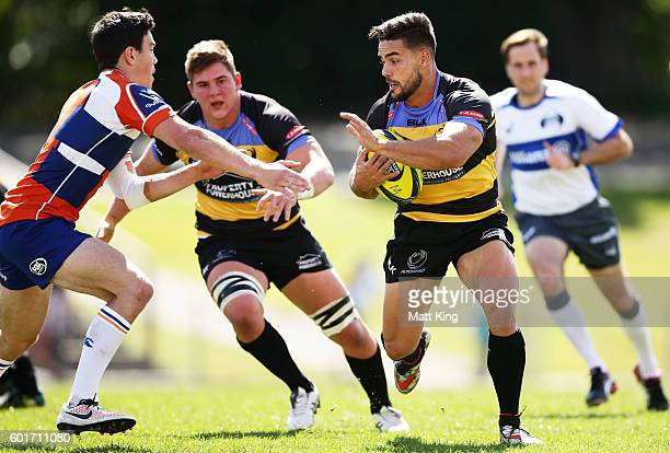 Ryan Louwrens of the Spirit makes a break during the round three NRC match between the Western Sydney Rams and the Perth Spirit at Concord Oval on...