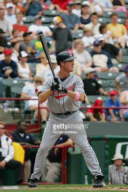 Ryan Ludwick of the Cleveland Indians bats against the Texas Rangers on May 8 2005 at Ameriquest Field in Arlington in Arlington Texas The Rangers...