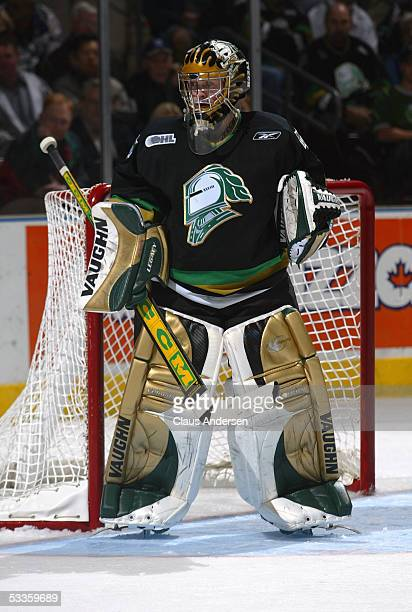 Ryan MacDonald of the London Knights stands in his crease as he follows the action during a Ontario Hockey League game against the Windsor Spitfires...