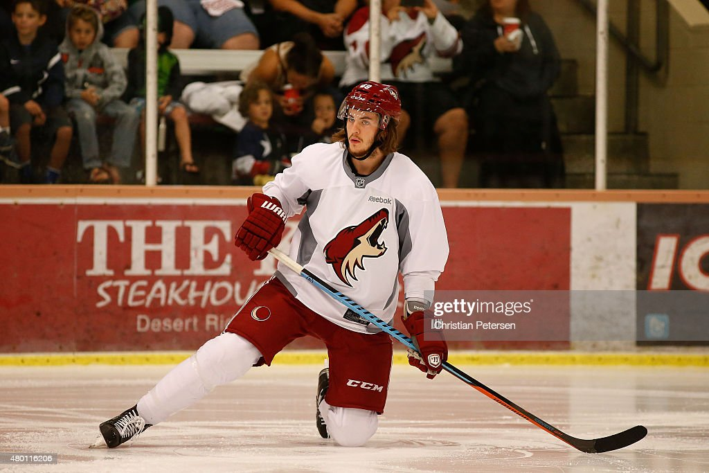 Ryan MacInnis #49 of the Arizona Coyotes participates in the prospect development camp at the Ice Den on July 6, 2015 in Scottsdale, Arizona.