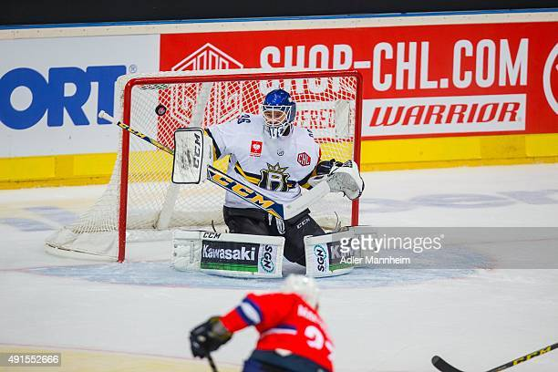 Ryan MacMurchy of Adler Mannheim scores the opening goal past Kaaop Kahkonen of Espoo Blues during the Champions Hockey League round of thirty-two...