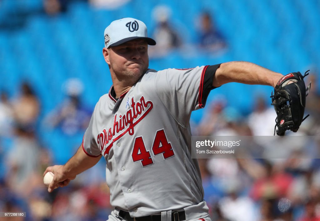 Ryan Madson #44 of the Washington Nationals delivers a pitch in the eighth inning during MLB game action against the Toronto Blue Jays at Rogers Centre on June 17, 2018 in Toronto, Canada.