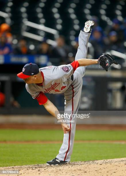 Ryan Madson of the Washington Nationals in action against the New York Mets at Citi Field on April 16 2018 in the Flushing neighborhood of the Queens...