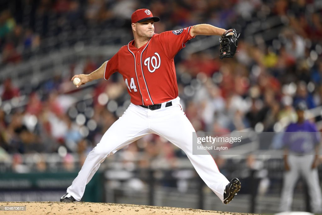 Ryan Madson #44 of the Washington Nationals pitches in the eighth inning during game two of a doubleheader against the Colorado Rockies at Nationals Park on July 30, 2017 in Washington, DC.