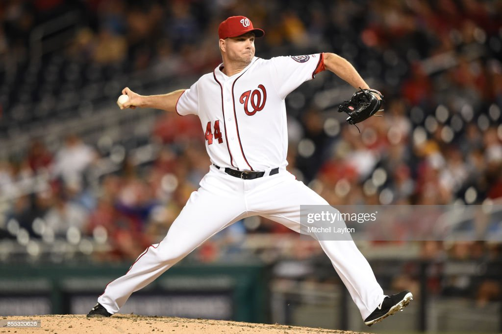 Ryan Madson #44 of the Washington Nationals pitches in the eighth inning during a baseball game against the Pittsburgh Pirates at Nationals Park on September 28, 2017 in Washington, DC.