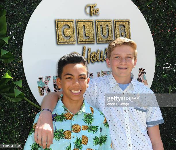 Ryan Makaeha and Lucas Wolk arrive for Clubhouse Kidchella held at Pershing Square on April 6 2019 in Los Angeles California