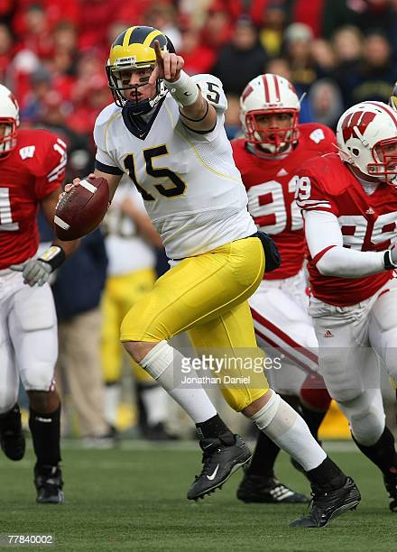Ryan Mallett of the Michigan Wolverines runs out of the pocket to throw a pass against the Wisconsin Badgers on November 10 2007 at Camp Randall...
