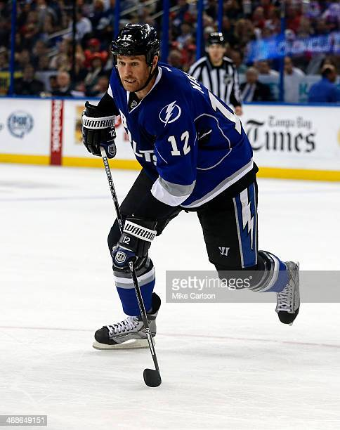 Ryan Malone of the Tampa Bay Lightning against the Detroit Red Wings at the Tampa Bay Times Forum on February 8 2014 in Tampa Florida