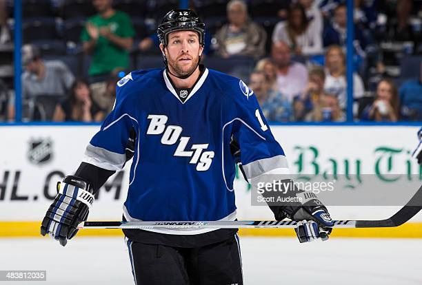 Ryan Malone of the Tampa Bay Lightning skates against the Dallas Stars at the Tampa Bay Times Forum on April 5 2014 in Tampa Florida
