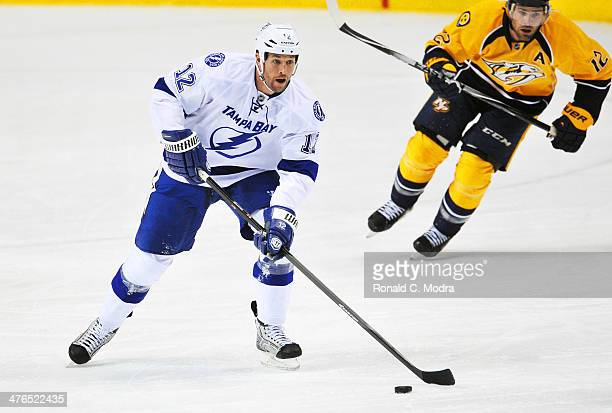 Ryan Malone of the Tampa Bay Lightning skates against the Nashville Predators at Bridgestone Arena on February 27 2014 in Nashville Tennessee