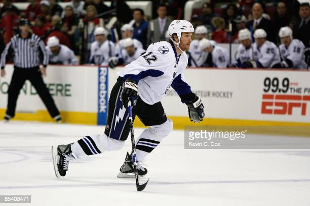 Ryan Malone of the Tampa Bay Lightning skates during the game against the Carolina Hurricanes on February 20, 2009 at RBC Center in Raleigh, North...
