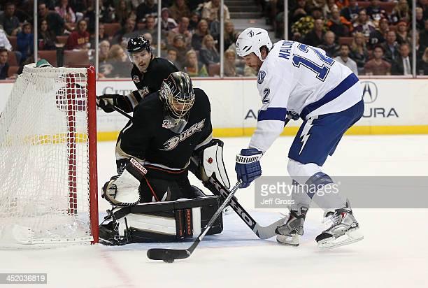 Ryan Malone of the Tampa Bay Lightning skates in on goaltender Jonas Hiller of the Anaheim Ducks at Honda Center on November 22 2013 in Anaheim...