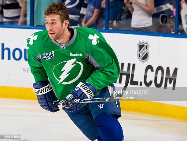 Ryan Malone of the Tampa Bay Lightning warms up before the game against the Carolina Hurricanes at the Tampa Bay Times Forum on March 16 2013 in...