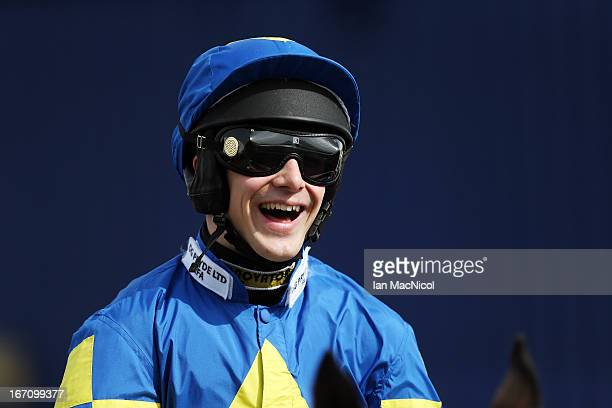 Ryan Mania riding Auroras Encore prior to The Coral Scottish Grand National Handicap Steeple Chase, at Ayr racecourse on April 20, 2013 in Ayr,...