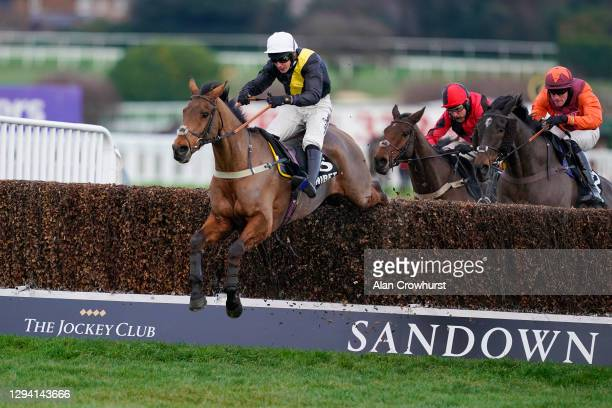 Ryan Mania riding Seeyouatmidnight clear the last to win The Unibet Veterans' Handicap Chase at Sandown Park Racecourse on January 02, 2021 in Esher,...