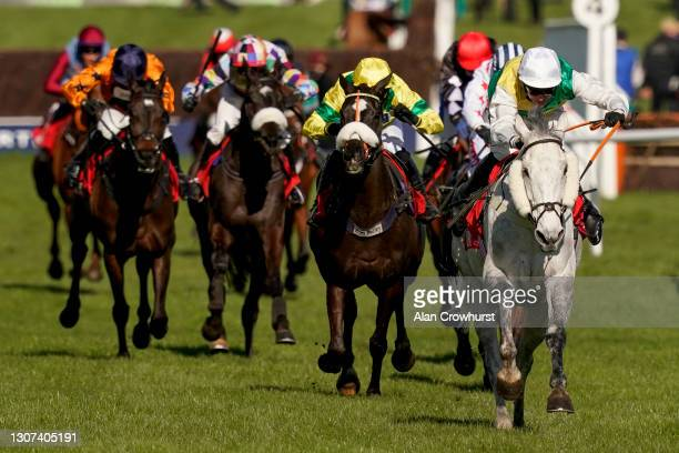 Ryan Mania riding Vintage Clouds clear the last to win The Ultima Handicap Chase at Cheltenham Racecourse on March 16, 2021 in Cheltenham, England....