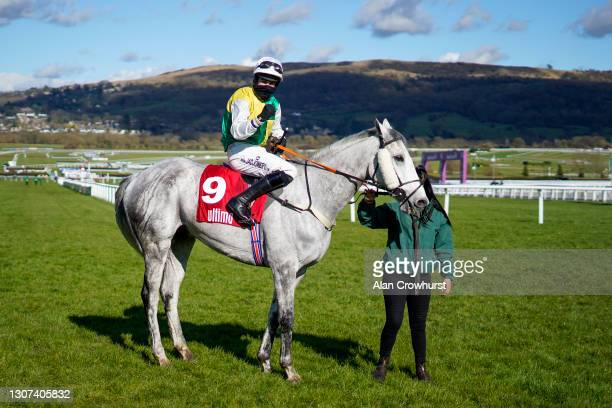 Ryan Mania riding Vintage Clouds win The Ultima Handicap Chase at Cheltenham Racecourse on March 16, 2021 in Cheltenham, England. Sporting venues...