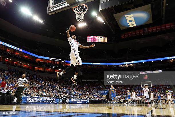 Ryan Manuel of the Southern Methodist Mustangs dunks the ball against the UCLA Bruins during the second round of the 2015 NCAA Men's Basketball...