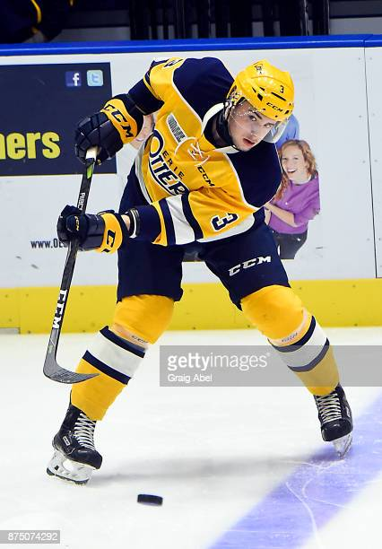 Ryan Martin of the Erie Otters skates in warmup prior to a game against the Mississauga Steelheads on November 15 2017 at Hershey Centre in...