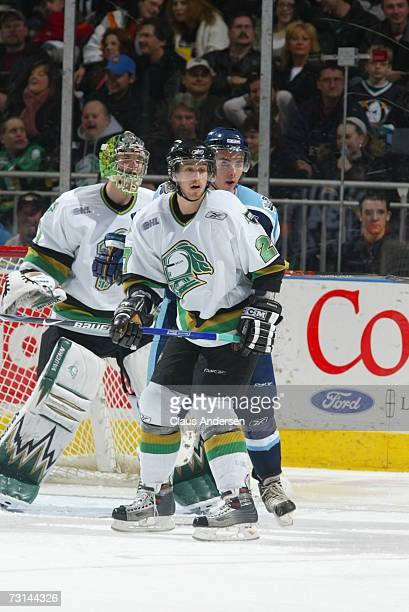 Ryan Martinelli of the London Knights defends in front of his net in game against the Toronto St Michael's Majors played at the John Labatt Centre on...
