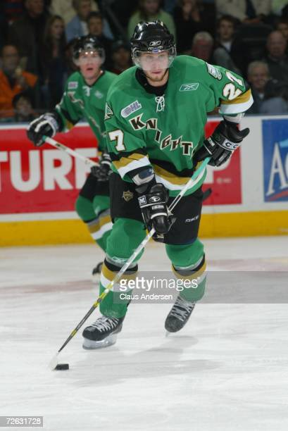 Ryan Martinelli of the London Knights skates against the Oshawa Generals at the John Labatt Centre on November 10 2006 in London Ontario Canada