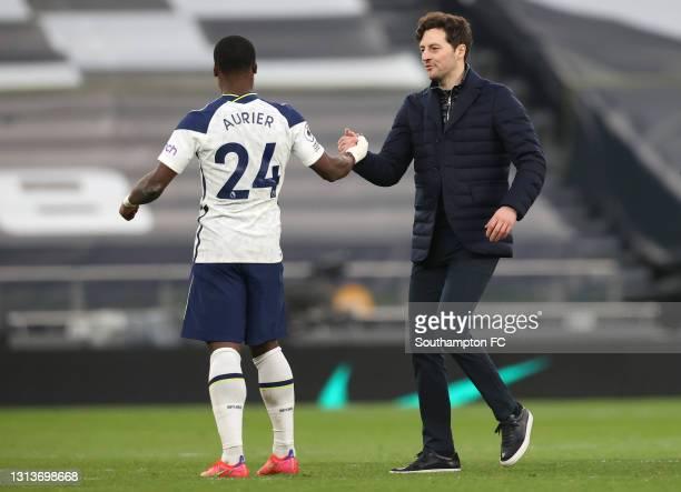 Ryan Mason, Interim head coach of Tottenham Hotspur celebrates victory with Serge Aurier of Tottenham Hotspur after the Premier League match between...