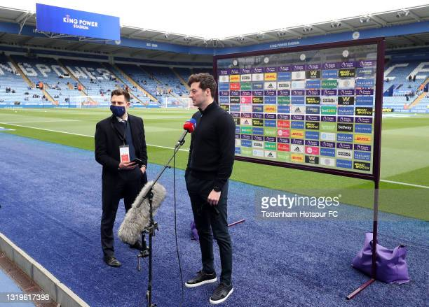 Ryan Mason, Interim Head Coach of Tottenham Hotspur speaks to media prior to the Premier League match between Leicester City and Tottenham Hotspur at...