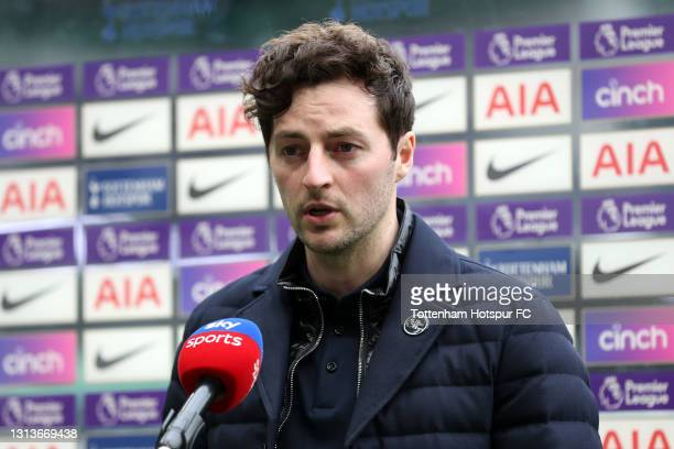 Ryan Mason, Interim Manager of Tottenham Hotspur is interview by Sky Sports prior to the Premier League match between Tottenham Hotspur and...