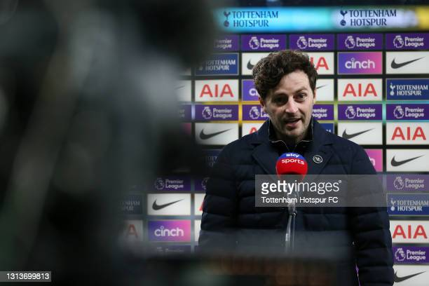 Ryan Mason, Interim Manager of Tottenham Hotspur looks on during a post match interview following the Premier League match between Tottenham Hotspur...