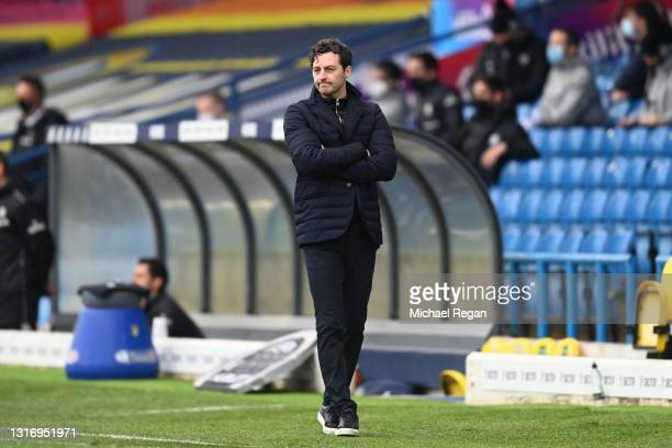 Ryan Mason, Interim Manager of Tottenham Hotspur reacts during the Premier League match between Leeds United and Tottenham Hotspur at Elland Road on...