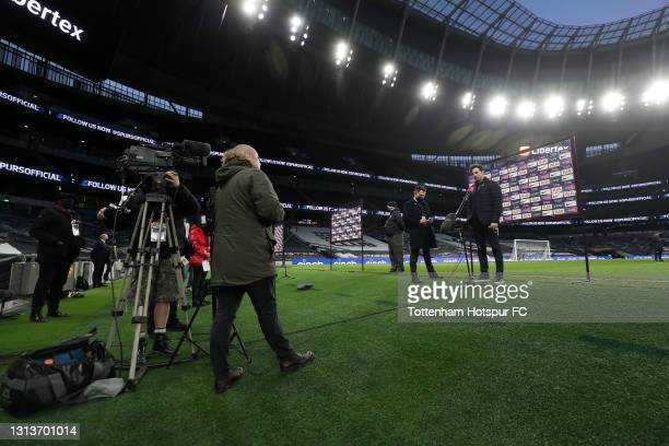 Ryan Mason, Interim Manager of Tottenham Hotspur speaks during a Sky Sports interview after the Premier League match between Tottenham Hotspur and...