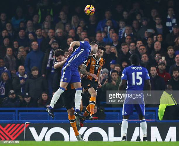 Ryan Mason of Hull City and Gary Cahill of Chelsea collide during the Premier League match between Chelsea and Hull City at Stamford Bridge on...