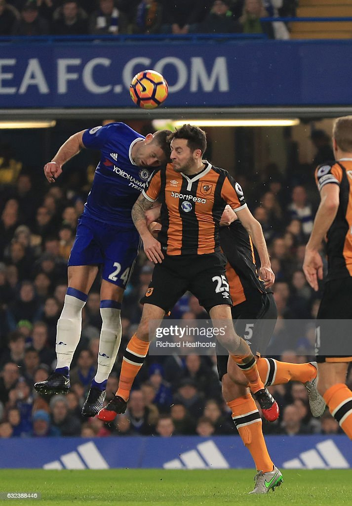 Ryan Mason of Hull City and Gary Cahill of Chelsea collide during the Premier League match between Chelsea and Hull City at Stamford Bridge on January 22, 2017 in London, England.
