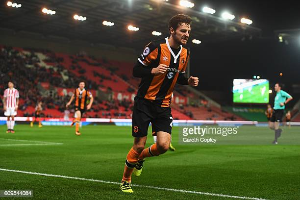 Ryan Mason of Hull City celebrates scoring his sides first goal during the EFL Cup Third Round match between Stoke City and Hull City at the...