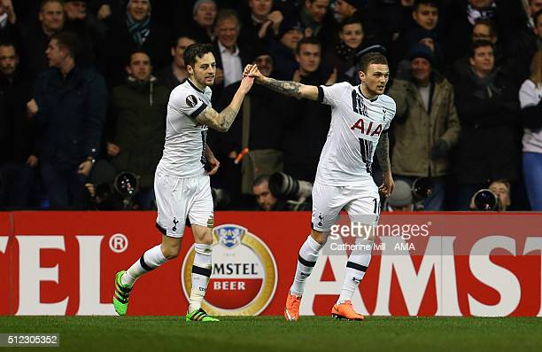 Ryan Mason of Tottenham Hotspur celebrates after he scores to make it 10 with Kieran Trippier of Tottenham Hotspur during the UEFA Europa League...