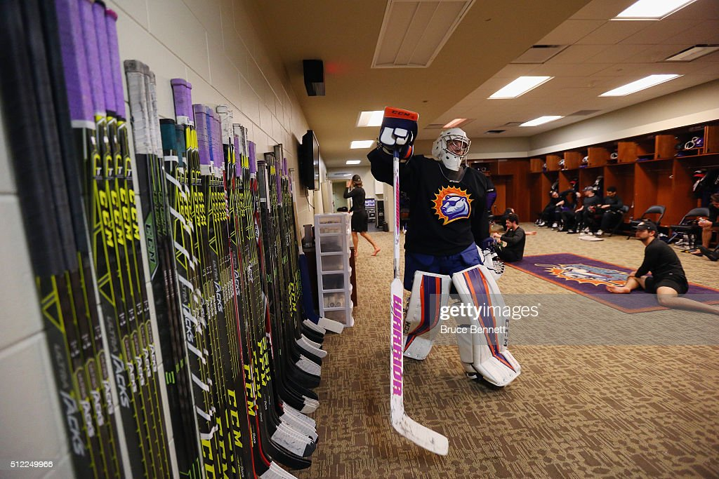 Ryan Massa #31 of Orlando Solar Bears heads out for practice at the Amway Center on February 13, 2016 in Orlando, Florida.