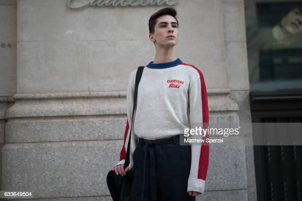 Ryan Matthew is seen attending Palomo Spain while wearing an Everyday bliss shirt and Asos pants on February 2 2017 in New York City