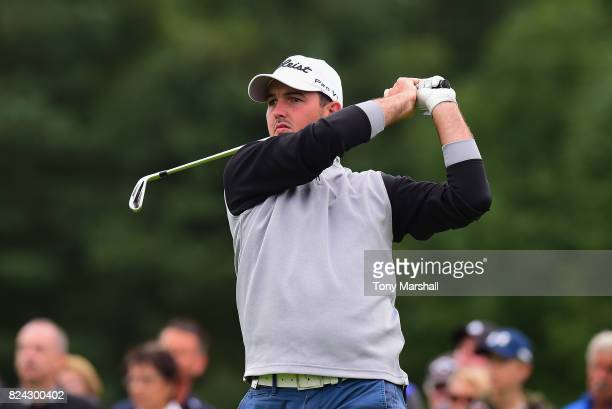 Ryan McCarthy of Australia plays his first shot on the 2nd tee during the Porsche European Open Day Three at Green Eagle Golf Course on July 29 2017...