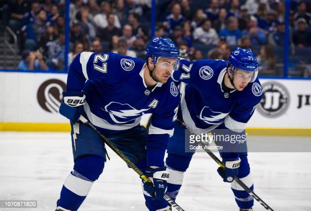 Ryan McDonagh and Anthony Cirelli of the Tampa Bay Lightning skate against the Florida Panthers during the second period at Amalie Arena on November...
