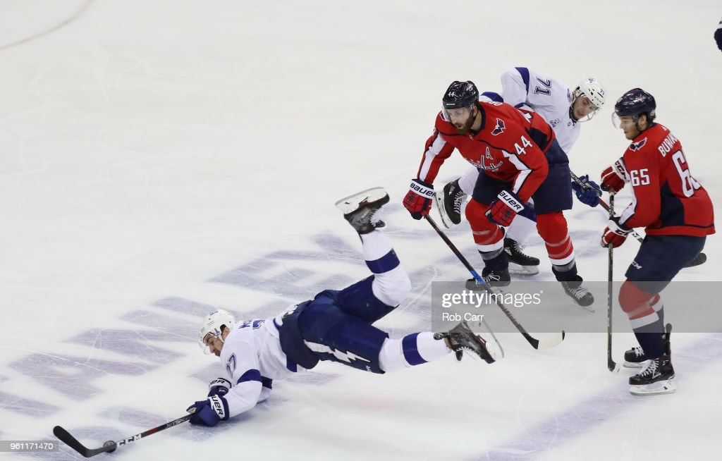 Ryan McDonagh #27 and Anthony Cirelli #71 of the Tampa Bay Lightning skate against Brooks Orpik #44 of the Washington Capitals in the second period of Game Six of the Eastern Conference Finals during the 2018 NHL Stanley Cup Playoffs at Capital One Arena on May 21, 2018 in Washington, DC.