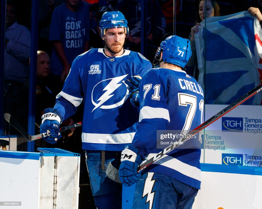 Ryan McDonagh #27 and Anthony Cirelli #71 of the Tampa Bay Lightning celebrates the win against the Toronto Maple Leafs at Amalie Arena on March 20, 2018 in Tampa, Florida.