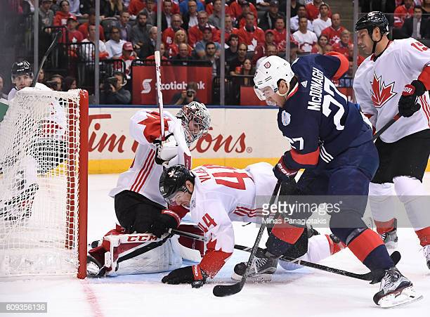 Ryan McDonagh of Team USA jumps on a loose puck to score a first period goal on Carey Price of Team Canada during the World Cup of Hockey 2016 at Air...